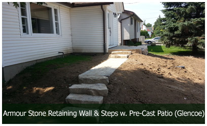 Armour Stone Retaining Wall and Steps with Pre-Cast Patio (Glencoe)