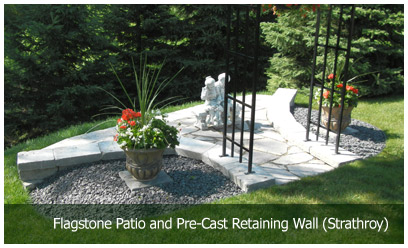 Flagstone Patio and Pre-Cast Retaining Wall (Strathroy)