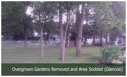 Overgrown Gardens Removed and Area Sodded (Glencoe)